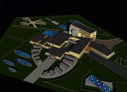نقشه اتوکدی بیمارستان 100 تخته (پلان دوبعدی و سه بعدی)